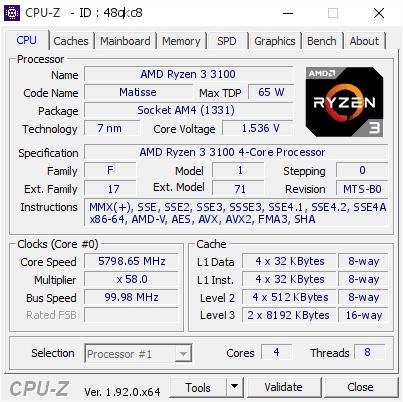 Разгон AMD Ryzen 3 3100
